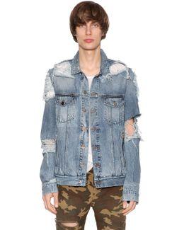 Cotton Denim Destroyed Jacket
