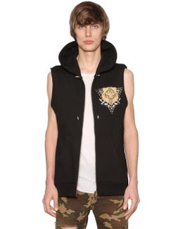 Hooded Print Panther Cotton Jersey Vest