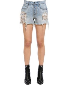 Destroyed Cotton Denim Shorts