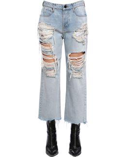 Cropped & Destroyed Cotton Denim Jeans