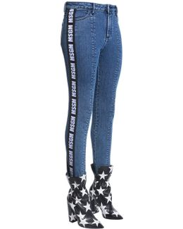 Stirrup Denim Jeans W/ Side Logo Bands