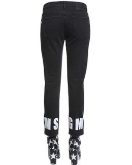 High Rise Straight Logo Hem Denim Jeans