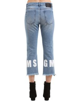 High Rise Cropped Logo Hem Denim Jeans