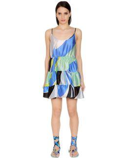 Printed Ruffled Satin Chiffon Dress