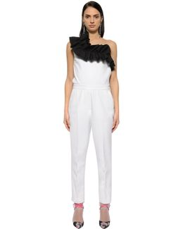 Double Crepe Jumpsuit With Ruffles