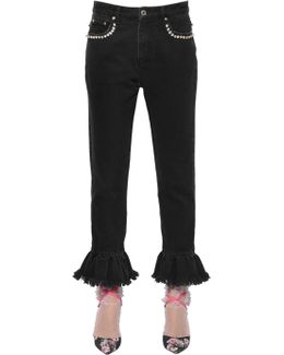 Embellished Denim Jeans With Ruffled Hem