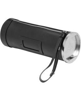 Leather Cylinder Clutch W/ Wrist Strap