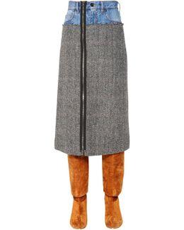Patchwork Denim & Wool Tweed Skirt