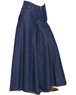 Open Weave Wide Cotton Denim Pants