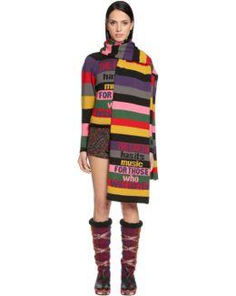 Intarsia Striped Wool Scarf