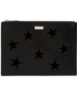 Faux Leather Pouch W/ Velvet Stars