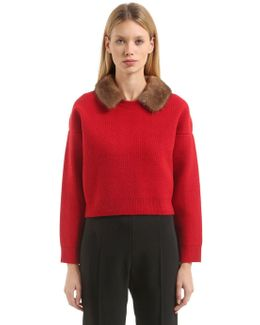 Needle Punched Knit Sweater W/ Mink Fur