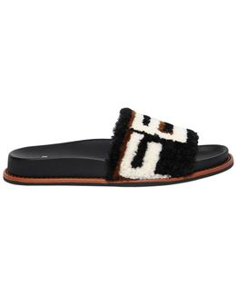 20mm Logo Shearling Slide Sandals