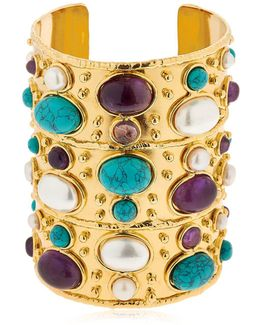 Manchette Byzance Turquoise Pearl Cuff