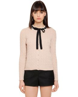 Cable Knit Cardigan W/ Self Tie Collar