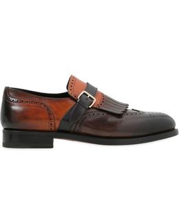Color Inverted Monk Strap Leather Shoes