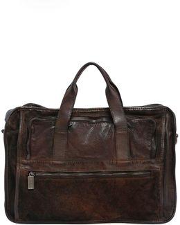 Leather Briefcase Bag W/ Vintage Effect