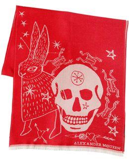 Wool Scarf W/ Skull