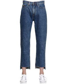 Mid Rise Straight Step Hem Denim Jeans
