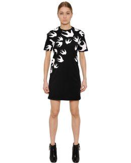 Swallow Printed Jersey T-shirt Dress