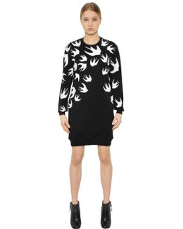 Swallow Printed Jersey Sweatshirt Dress