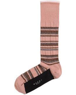 Metallic Striped Cotton Socks