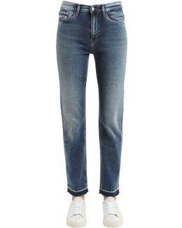 High Rise Straight Cotton Denim Jeans