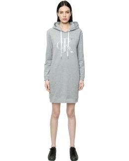 True Icon Hooded Cotton Sweatshirt Dress