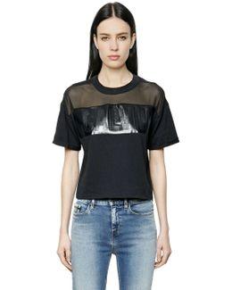 Logo Cotton Jersey & Mesh T-shirt