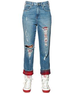 Plaid & Destroyed Denim Jeans Gigi Hadid