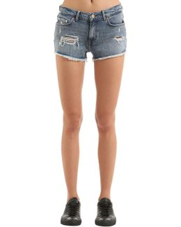 Destroyed Denim Shorts Gigi Hadid