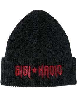 Embroidered Wool Knit Beanie Gigi Hadid