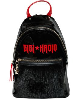 Vinyl & Faux Fur Backpack Gigi Hadid