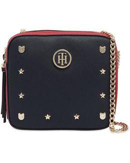 Saffiano Faux Leather Shoulder Bag