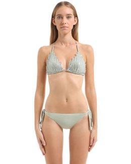 Sequined Triangle Bikini Top