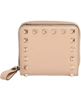 Small Rockstud Leather Zip Around Wallet