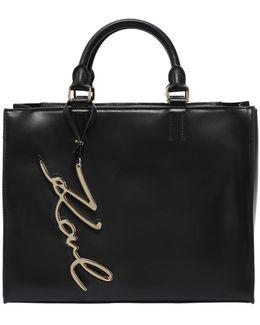 K/metal Signature Leather Tote Bag