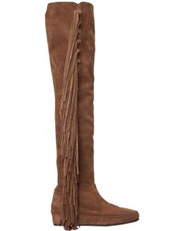 30mm Fringed Suede Over The Knee Boots