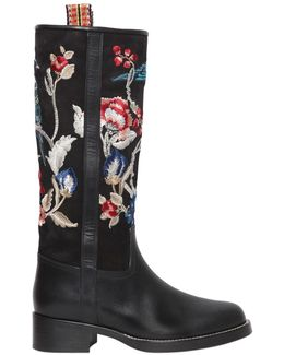 30mm Embroidered Suede & Leather Boots