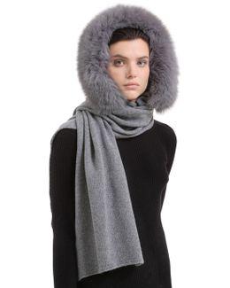 Scarf W/ Hood And Fox Fur Trim