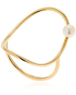 Gold Oval Ring W/ Pearl