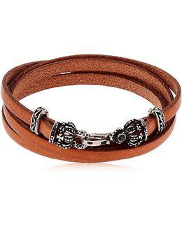 Crowns Leather Wrap Bracelet