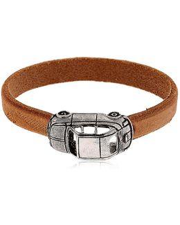 Silver Car Charm & Leather Bracelet