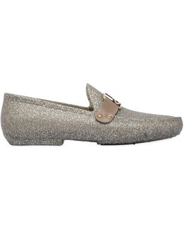 Gold Glitter Rubber Loafers