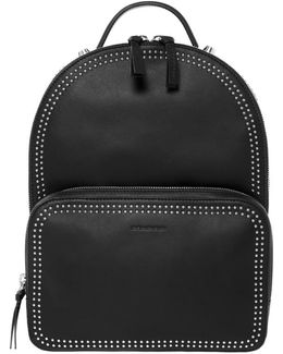 Brook Dual Leather Backpack In Black/shiny Nickel