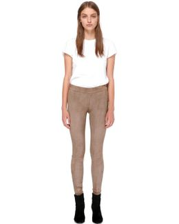 Navi-su Stretch Suede Leather Pants In Oyster
