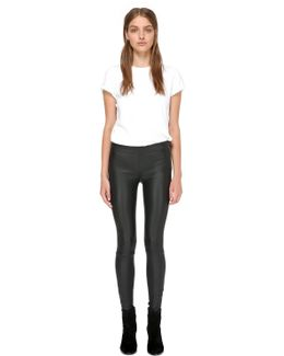Navi-y Stretch Leather Pants In Black