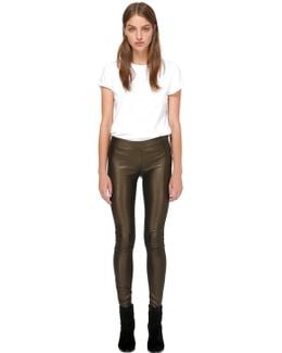 Navi-y Stretch Leather Pants In Bronze