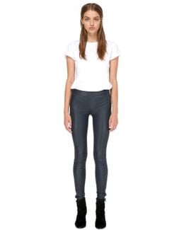 Navi-y Stretch Leather Pants In Navy