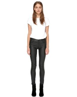 Peppa Fitted Stretch Leather Pants In Black